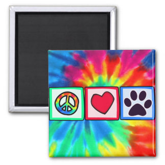 Peace, Love, Dog; Pawprint 2 Inch Square Magnet