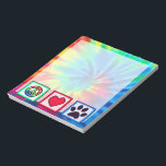 """Peace, Love, Dog; Pawprint Notepad<br><div class=""""desc"""">You will love this groovy tie dye peace, love, paw print pawprint pawprints prints design. Great for gifts! Available on tee shirts, smart phone cases, mousepads, keychains, posters, cards, electronic covers, computer laptop / notebook sleeves, caps, mugs, and more! Visit our site for a custom gift case for Samsung Galaxy...</div>"""