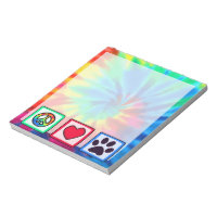 Peace, Love, Dog; Pawprint Notepad