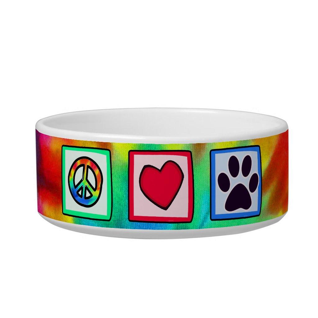 Peace, Love, Dog; Pawprint Pet Water Bowl