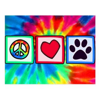 Peace, Love, Dog; Pawprint Postcard