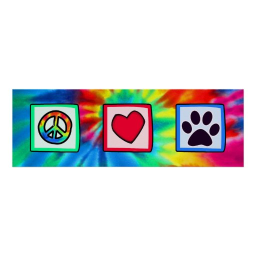 Peace, Love, Dog; Pawprint Poster