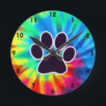 "Peace, Love, Dog; Pawprint Round Clock<br><div class=""desc"">You will love this groovy tie dye peace, love, paw print pawprint pawprints prints design. Great for gifts! Available on tee shirts, smart phone cases, mousepads, keychains, posters, cards, electronic covers, computer laptop / notebook sleeves, caps, mugs, and more! Visit our site for a custom gift case for Samsung Galaxy...</div>"