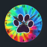 """Peace, Love, Dog; Pawprint Round Clock<br><div class=""""desc"""">You will love this groovy tie dye peace, love, paw print pawprint pawprints prints design. Great for gifts! Available on tee shirts, smart phone cases, mousepads, keychains, posters, cards, electronic covers, computer laptop / notebook sleeves, caps, mugs, and more! Visit our site for a custom gift case for Samsung Galaxy...</div>"""
