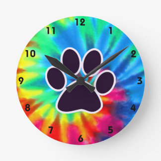 Peace, Love, Dog; Pawprint Round Clock