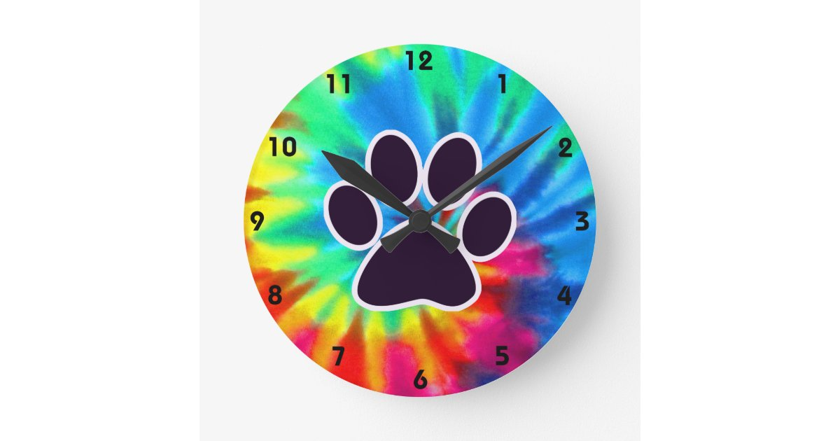 Peace Love Dog Pawprint Round Clock Zazzle Com