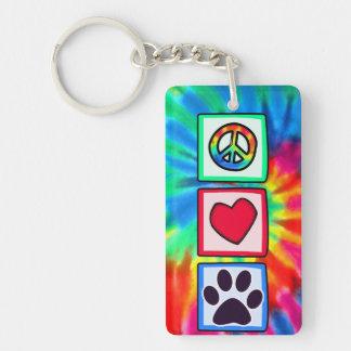 Peace, Love, Dog; Pawprint Single-Sided Rectangular Acrylic Keychain