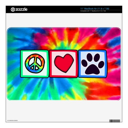 Peace, Love, Dog; Pawprint Decal For The MacBook Air