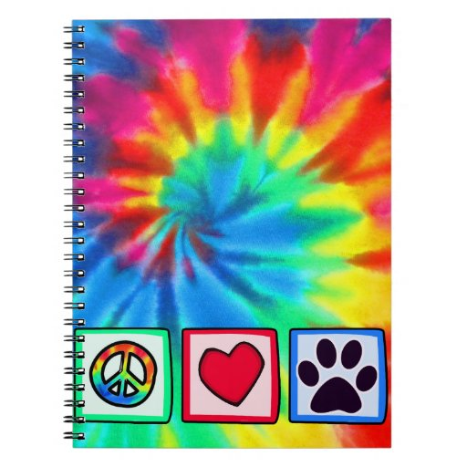 Peace, Love, Dog; Pawprint Spiral Note Book