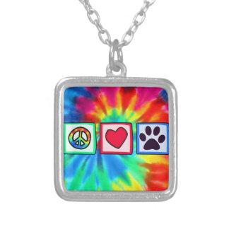 Peace, Love, Dog; Pawprint Square Pendant Necklace