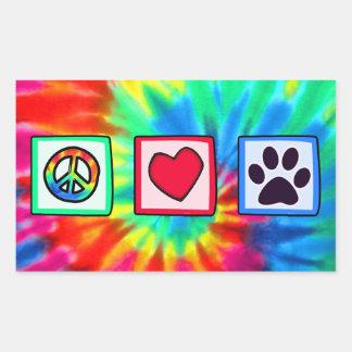 Peace, Love, Dog; Pawprint Rectangular Sticker