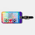 Peace, Love, Dog; Pawprint Tags For Bags