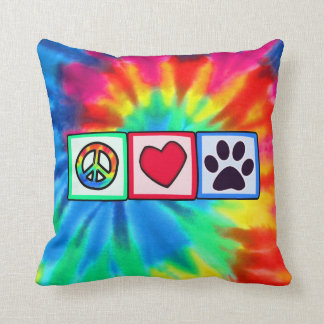 Peace, Love, Dog; Pawprint Throw Pillow
