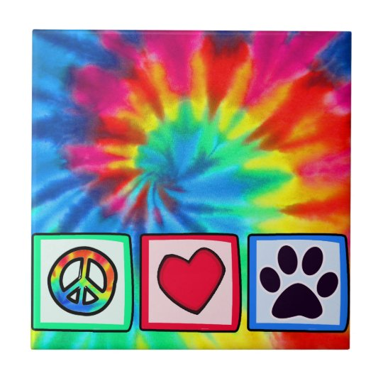 Peace, Love, Dog; Pawprint Tile