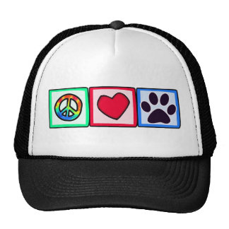 Peace, Love, Dog; Pawprint Trucker Hat