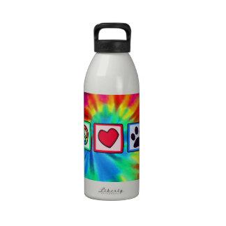Peace, Love, Dog; Pawprint Reusable Water Bottle