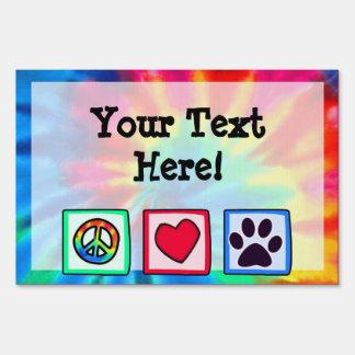 Peace, Love, Dog; Pawprint Yard Sign