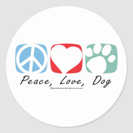 Peace Love Dog Round Stickers