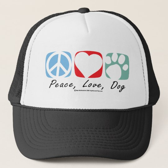 Peace Love Dog Trucker Hat