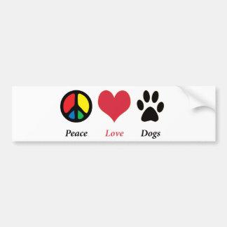 Peace, Love, Dogs bumper sticker