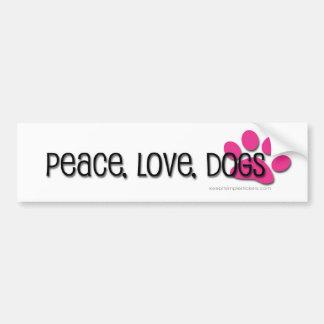 peace, love, dogs car bumper sticker