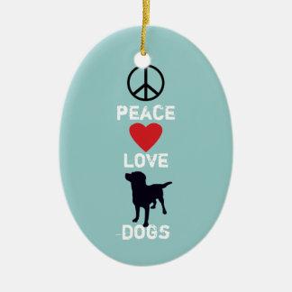 Peace Love Dogs Ceramic Ornament
