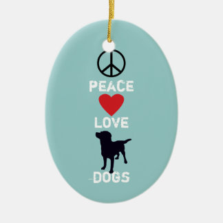 Peace Love Dogs Double-Sided Oval Ceramic Christmas Ornament
