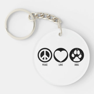 Peace Love Dogs Double-Sided Round Acrylic Keychain