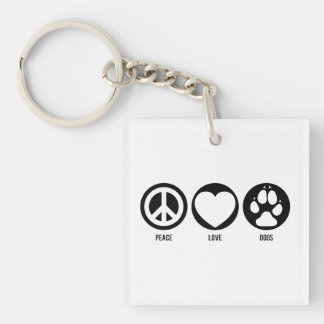 Peace Love Dogs Double-Sided Square Acrylic Keychain