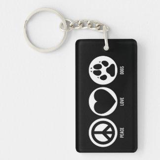 Peace Love Dogs Double-Sided Rectangular Acrylic Keychain
