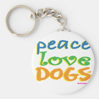 Peace Love Dogs Basic Round Button Keychain
