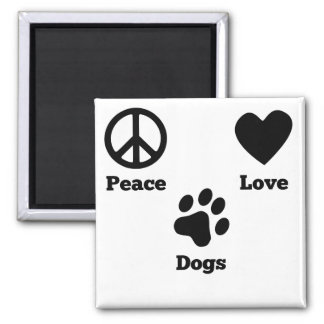 Peace Love Dogs 2 Inch Square Magnet