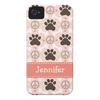 Peace Love Dogs Paw Print 4 4s Case-Mate Cover