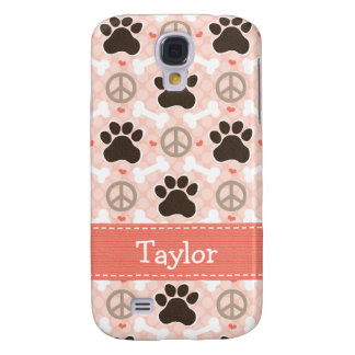 Peace Love Dogs Paw Print Galaxy S4 Cover