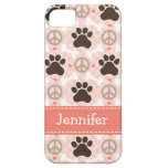 Peace Love Dogs Paw Print iPhone SE/5/5s Case