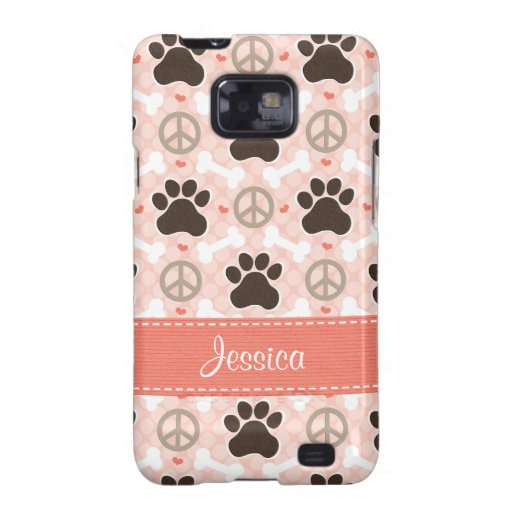 Peace Love Dogs Paw Print Samsung Galaxy S Case Co