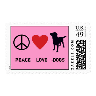 Peace Love Dogs Postage Stamp