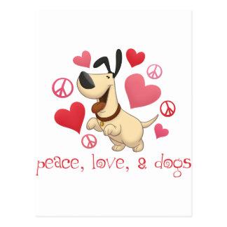 Peace, Love, & Dogs Postcard