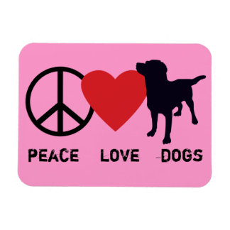 Peace Love Dogs Rectangular Magnets