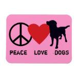 Peace Love Dogs Rectangular Photo Magnet
