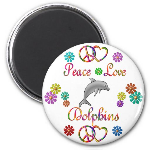 Peace Love Dolphins 2 Inch Round Magnet
