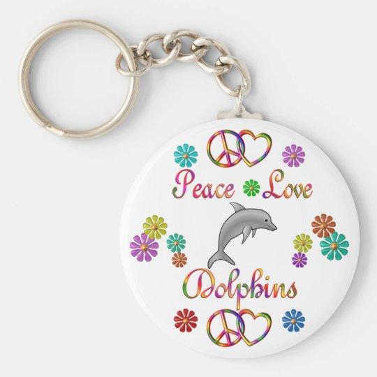 Peace Love Dolphins Keychain