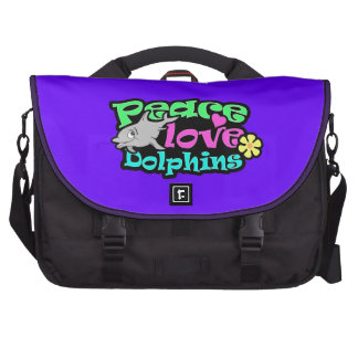 Peace, Love, Dolphins; Retro Laptop Bags