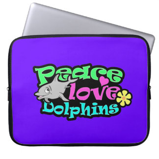 Peace, Love, Dolphins; Retro Computer Sleeves