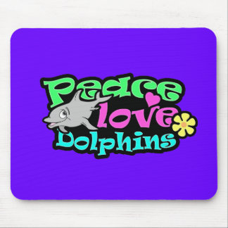 Peace, Love, Dolphins; Retro Mouse Pad