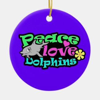 Peace, Love, Dolphins; Retro Christmas Tree Ornaments