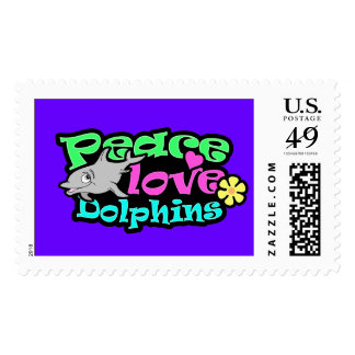 Peace, Love, Dolphins; Retro Postage Stamps