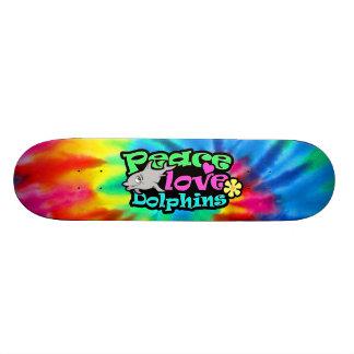 Peace, Love, Dolphins; Retro Skate Deck
