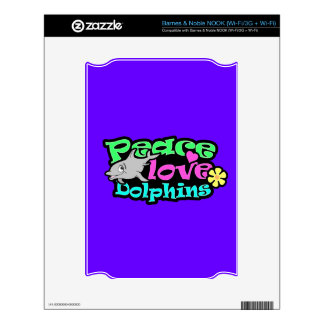 Peace, Love, Dolphins; Retro NOOK Decal