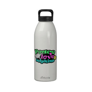 Peace, Love, Dolphins; Retro Drinking Bottle